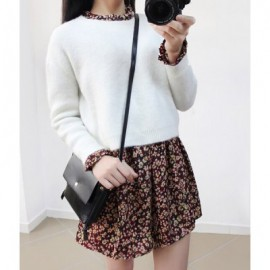 Vintage Long Sleeves Tiny Floral Print Dress and Solid Color Sweater Suit For Women