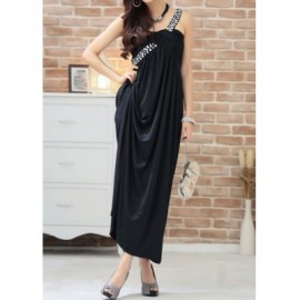 Vintage One-Shoulder Pleated Rhinestoned Prom Dress For Women