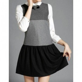 Vintage Peter Pan Collar 3/4 Sleeves Color Splicing Dress For Women