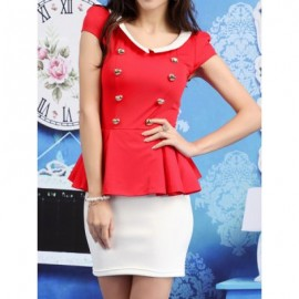 Vintage Peter Pan Collar Double Breasted Color Splicing Flounce Dress For Women