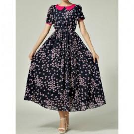 Vintage Peter Pan Collar Floral Print Short Sleeve Maxi Dress For Women