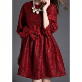 Vintage Round Collar 3/4 Lantern Sleeve Flower Pattern Women's Dress