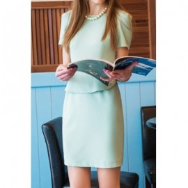 Vintage Round Neck Short Sleeves Flounce Solid Color Dress For Women