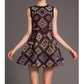 Vintage Round Neck Sleeveless Geometric Print Dress For Women