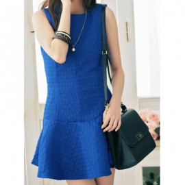 Vintage Round Neck Sleeveless Solid Color Flounce Dress For Women