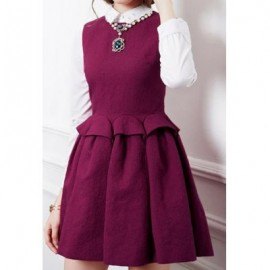 Vintage Round Neck Solid Color Splicing Sleeveless Dress For Women