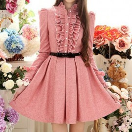 Vintage Ruffed Collar Long Sleeves Flounce Pleated Dress For Women