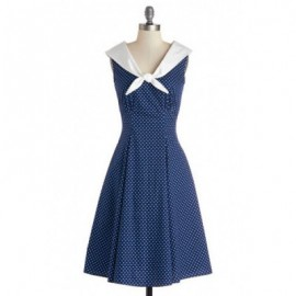 Vintage Sailor Collar Sleeveless Polka Dot Dress For Women