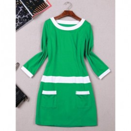 Vintage Scoop Neck 3/4 Sleeves Color Splicing Pocket Dress For Women