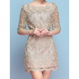 Vintage Scoop Neck Half Sleeves Embroidered Dress For Women