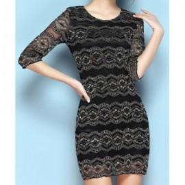 Vintage Scoop Neck Half Sleeves Lace Dress For Women