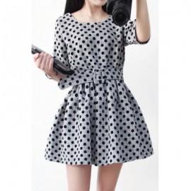 Vintage Scoop Neck Half Sleeves Polka Dot Belt Dress For Women