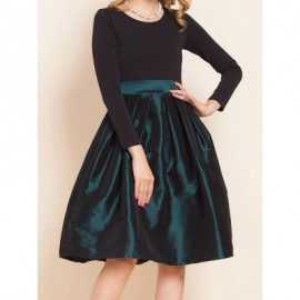 Vintage Scoop Neck Long Sleeves Color Splicing Bowknot Dress For Women