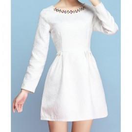 Vintage Scoop Neck Long Sleeves Jacquard Beaded Dress For Women
