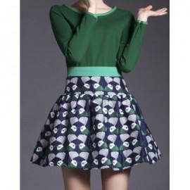 Vintage Scoop Neck Long Sleeves Print Splicing Dress For Women