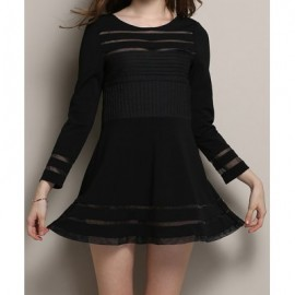 Vintage Scoop Neck Long Sleeves See-Through Black Dress For Women