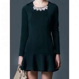 Vintage Scoop Neck Long Sleeves Solid Color Applique Flounce Dress For Women