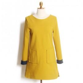 Vintage Scoop Neck Long Sleeves Solid Color Pocket Dress For Women