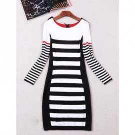 Vintage Scoop Neck Long Sleeves Striped Dress For Women