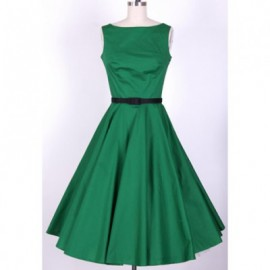 Vintage Scoop Neck Pleated Sleeveless Country Green Dress For Women