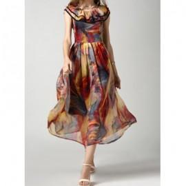 Vintage Scoop Neck Print Flounce Long Dress For Women