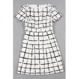Vintage Scoop Neck Short Sleeves Plaid Printed Dress For Women