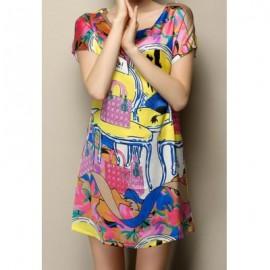 Vintage Scoop Neck Short Sleeves Print Zippers Embellished Dress For Women