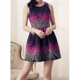Vintage Scoop Neck Sleeveless Applique Print Dress For Women