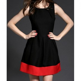 Vintage Scoop Neck Sleeveless Color Splicing Dress For Women