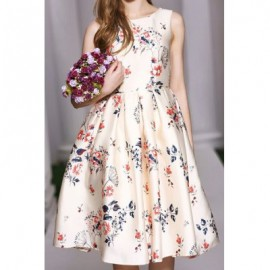 Vintage Scoop Neck Sleeveless Floral Print Bowknot Dress For Women