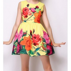 Vintage Scoop Neck Sleeveless Floral Print Women's Dress