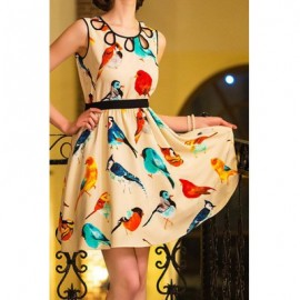 Vintage Scoop Neck Sleeveless Hollow Out Bird Print Dress For Women