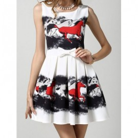 Vintage Scoop Neck Sleeveless Horse Print Bowknot Dress For Women