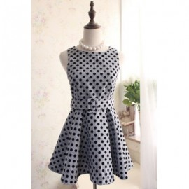 Vintage Scoop Neck Sleeveless Polka Dot Belt Dress For Women