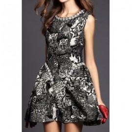Vintage Scoop Neck Sleeveless Printed Beading Dress For Women