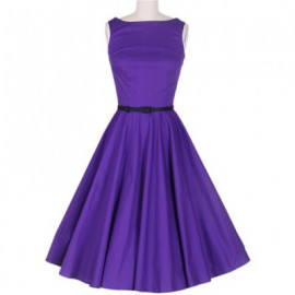 Vintage Scoop Neck Sleeveless Purple Pleated Dress For Women