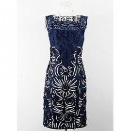 Vintage Scoop Neck Sleeveless Solid Color Embroidered Dress For Women