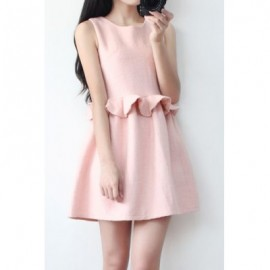 Vintage Scoop Neck Sleeveless Solid Color Flounce Dress For Women