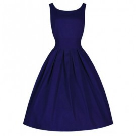 Vintage Scoop Neck Solid Color Beam Waist Sleeveless Dress For Women