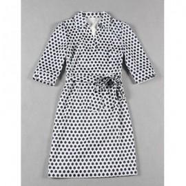 Vintage Shirt Collar Half Sleeves Polka Dot Belt Dress For Women