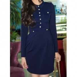 Vintage Shirt Collar Long Sleeves Single Breasted Epaulet Solid Color Dress For Women