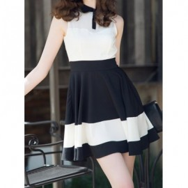 Vintage Shirt Collar Sleeveless Color Splicing Dress For Women
