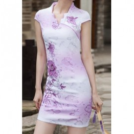 Vintage Short Sleeve Embroidered Slimming Women's Dress