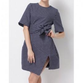 Vintage Short Sleeves Polka Dot Asymmetric Belt Dress For Women