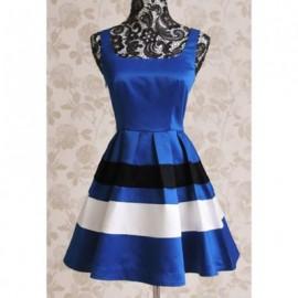 Vintage Shoulder-Straps Color Splicing Dress For Women