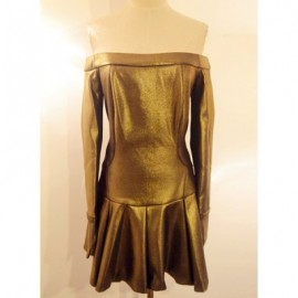 Vintage Slash Neck Long Sleeves Solid Color Pleated Dress For Women