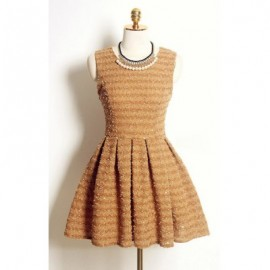 Vintage Sleeveless Jewel Neck Solid Color Dress For Women