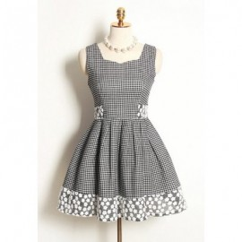 Vintage Sleeveless Plaid Lace Splicing Dress For Women