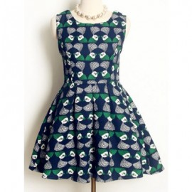 Vintage Sleeveless Printed A-Line Dress For Women