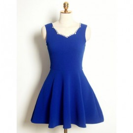 Vintage Sleeveless Solid Color Beaded Dress For Women